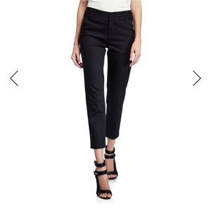 Alice + Olivia Silk Straight Leg Crop Black Pants